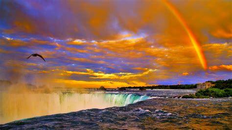 rainbow sunset  niagara falls desktop background