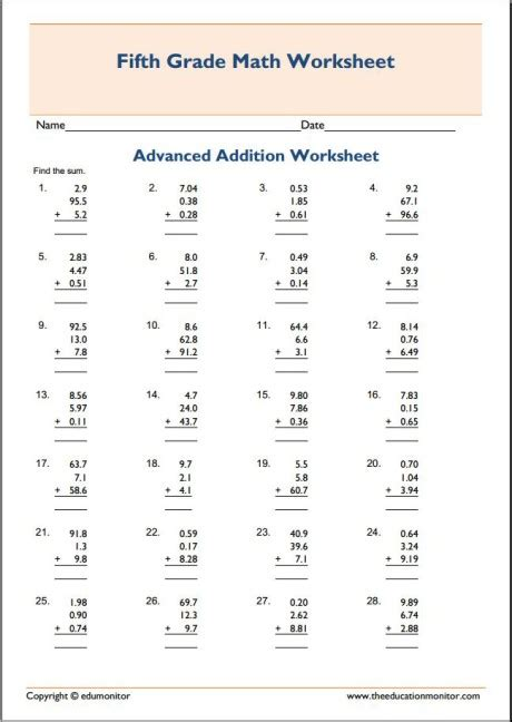 grade advanced addition math worksheets