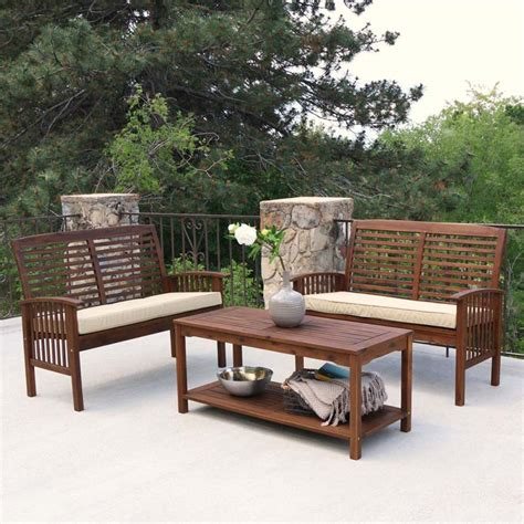 walker edison 3 acacia wood patio conversation set