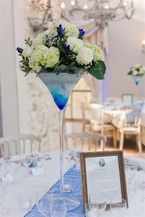 idee decoration mariage bleu vase martini  composition