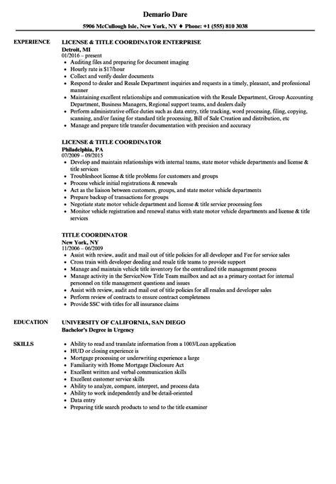 Title For Resume by Title Coordinator Resume Sles Velvet