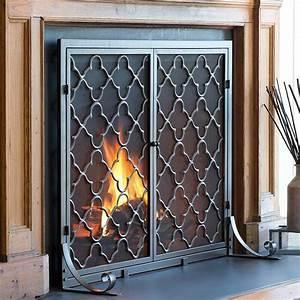 Plow, U0026, Hearth, Geometric, Single, Panel, Steel, Fireplace, Screen, U0026, Reviews