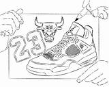 Coloring Shoe Basketball Pages sketch template