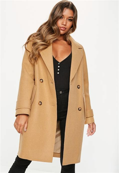 missguided camel double breasted cocoon coat winter