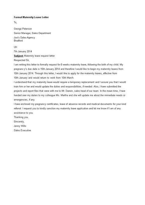 Formal Maternity Leave Letter - How to write a Formal Maternity Leave Letter? Download this
