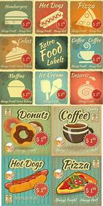 Retro food labels with price vector | Vector Graphics ...