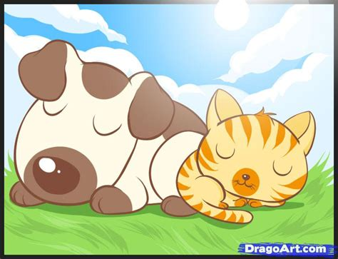 draw  cat  dog step  step pets animals