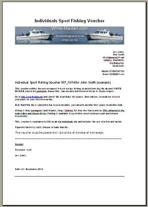individual sports fishing voucher