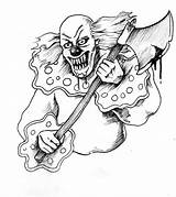 Clown Coloring Scary Pages Drawing Evil Creepy Tattoo Face Jester Drawings Wicked Cool Clowns Killer Rajz Stencil Printable Tattoos Google sketch template