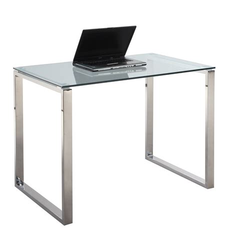 glass table computer desk chintaly imports 6931 small computer desk table clear