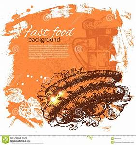 Vintage Fast Food Background. Hand Drawn Stock Vector ...
