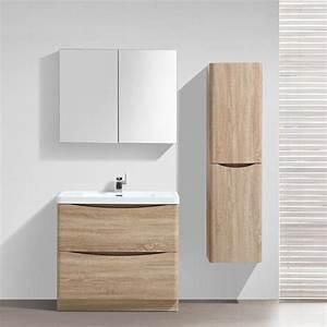 Meuble salle de bain 90 cm chene a poser 2 tiroirs nature for Meuble salle de bain nature
