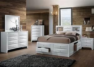 Ireland, White, King, Bookcase, Storage, Bed