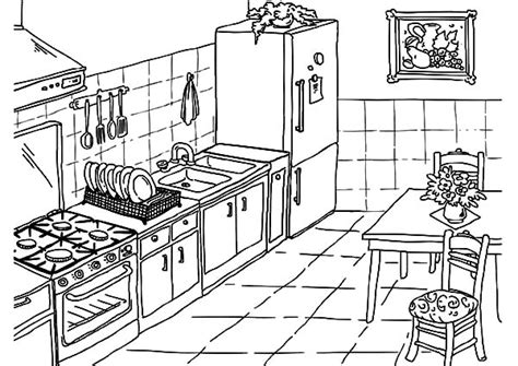 drawing kitchen coloring pages  print