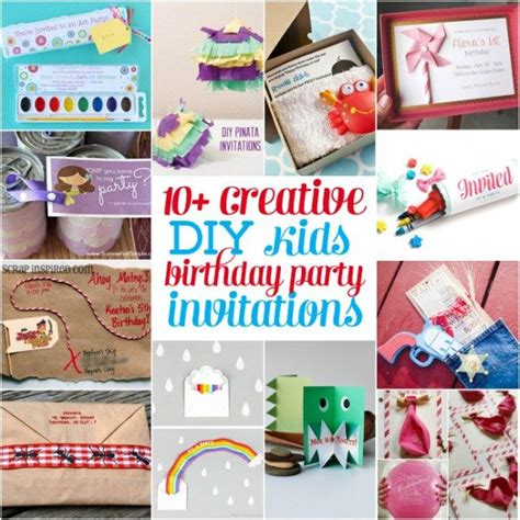 10+ Creative Homemade DIY Kids Birthday Party Invitation