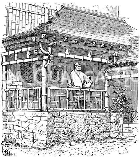 Chinesisches Wohnhaus Aus Bambusrohr. Nach Zeichnung Von