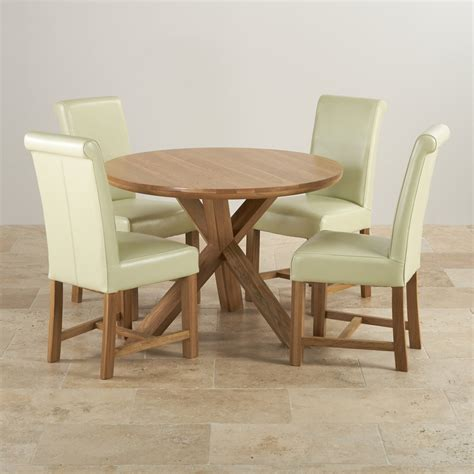 round kitchen table with 4 chairs natural oak round dining set table 4 cream leather chairs