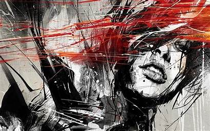 Abstract Face Artwork Graffiti Selective Drawing Modern