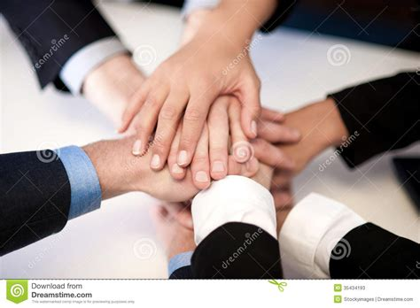 group  business people joining hands stock