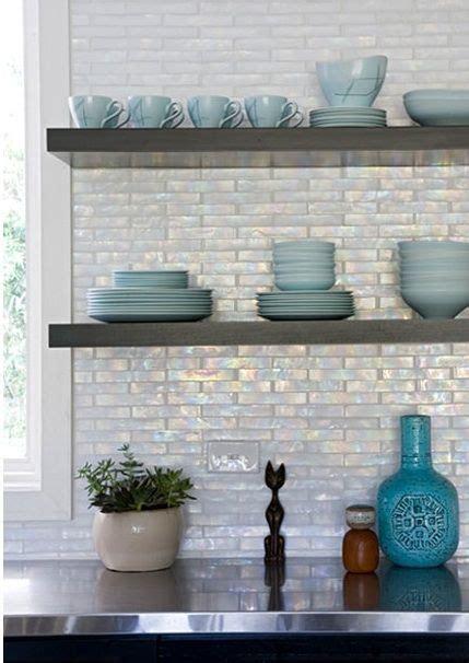 glass backsplash kitchen iridescent backsplash cabinets floating shelves 4563