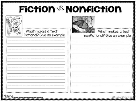 difference between fiction and nonfiction worksheet fiction vs nonfiction teaching ideas mrs winter s bliss