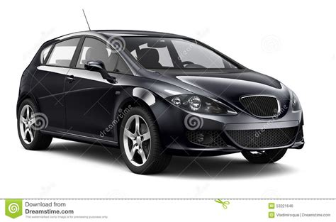 small cars black compact black car on white background stock illustration
