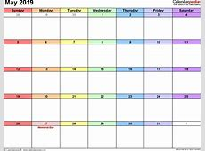 May 2019 Calendar Template monthly printable calendar