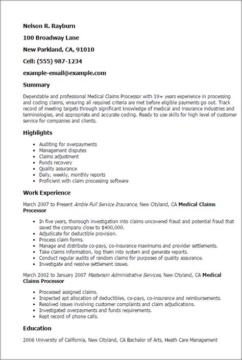 Insurance Claims Processor Resume Templates by Professional Claims Processor Templates To