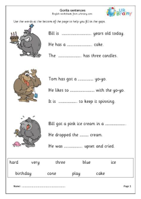 gorilla missing words story writing  urbrainycom