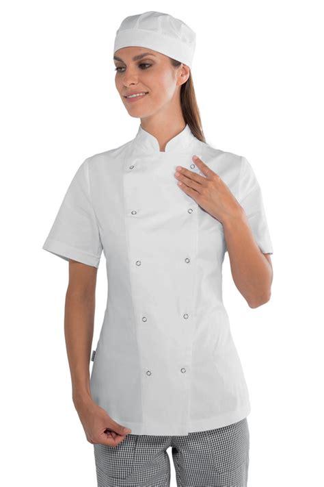 veste de cuisine veste de cuisine femme à boutons pression 100 coton