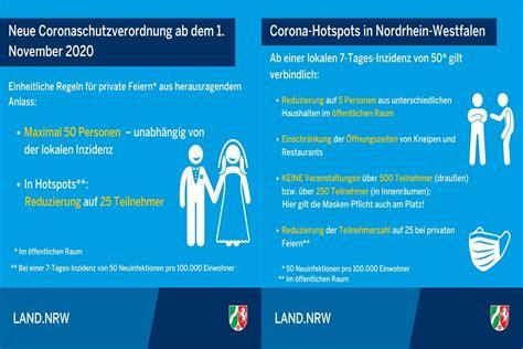 Corona@nrw.de bitte haben sie verständnis dafür, dass am bürgertelefon keine medizinische beratung zum coronavirus stattfinden kann. Neue Corona - Schutzverordnung NRW ab dem 01. November ...