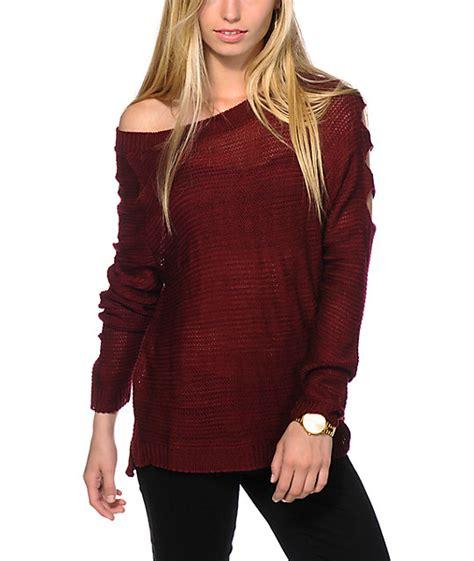 burgundy sweater womens trillium cold shoulder burgundy sweater