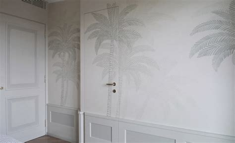 traditional wallpaper silk patterned handmade palm tree