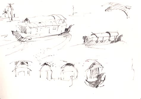 Houseboat Sketch by Sue Jarvis