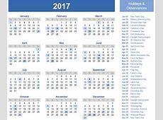 2017 Calendar With Holidays 2018 calendar printable