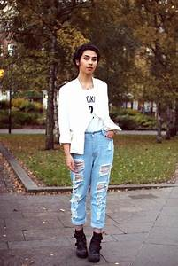 Jeans boyfriend jeans ripped light jeans ripped high waisted fashion blogger tar mar ...