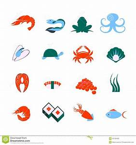 Seafood icons set stock vector. Image of element, frog ...