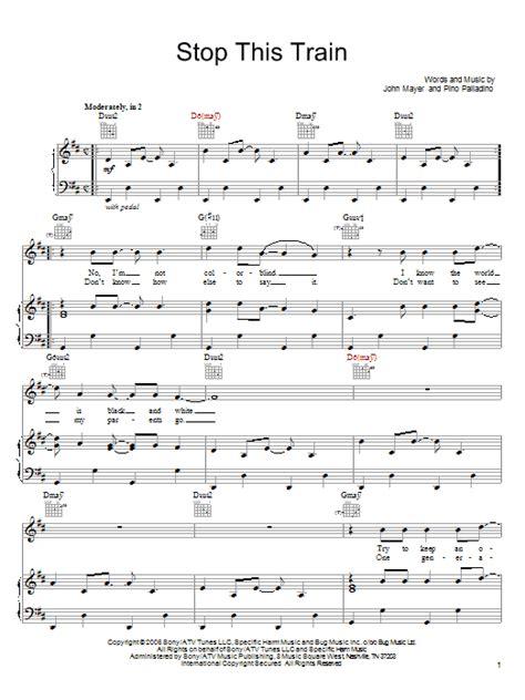 stop this train sheet music by john mayer piano vocal
