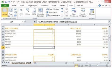 cashier balance sheet template  excel