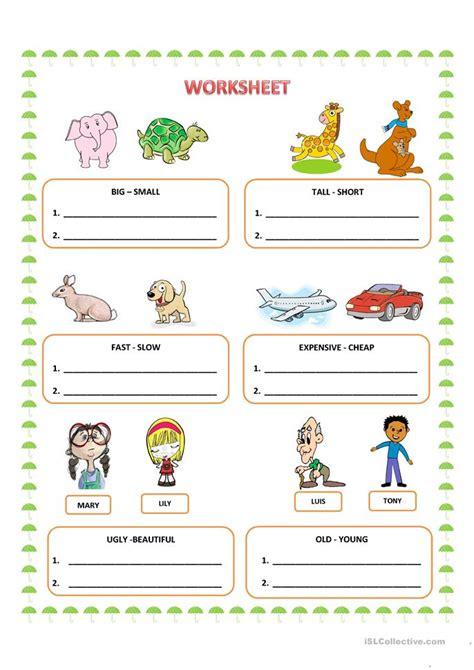 comparative adjectives worksheet  esl printable
