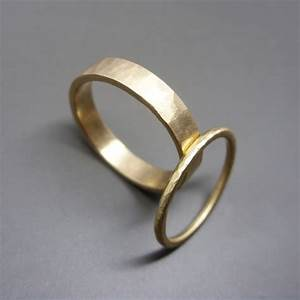 Hammered Matching Wedding Band Set In Solid 14k Yellow Or Rose
