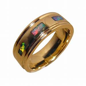 Mens Opal Ring 14k Gold Bright Colors Opal Rings Men