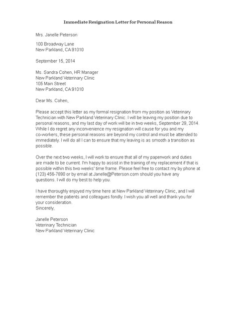 Immediate Resignation Letter For Personal Reason | Templates at allbusinesstemplates.com