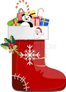 detailed christmas shoe with gifts decoration and santa claus stock vector colourbox