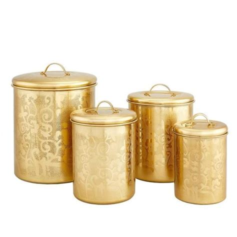dutch  piece avignon champagne tone etched canister set cc   canister sets