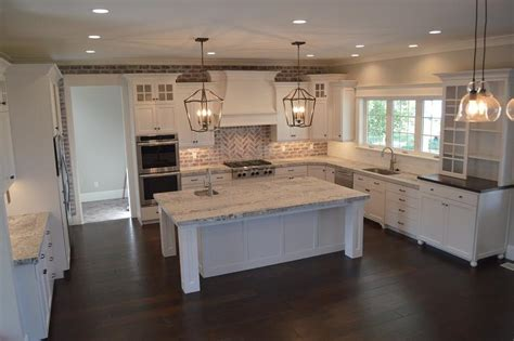 Kitchen Islands With Legs Brick Herringbone Cooktop Backsplash Transitional Kitchen
