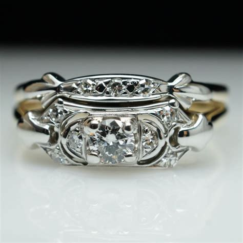 vintage 1930s retro engagement ring wedding band two ring ebay