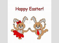 A couple of funny cartoon Easter rabbits Easter colorful