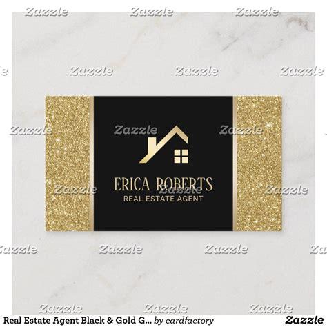 real estate agent black gold glitter custom logo