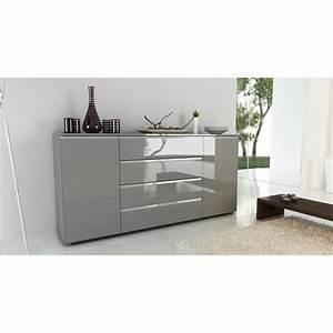 Buffet Salon Ikea : bahut gris laque achat vente bahut gris laque pas cher cdiscount ~ Teatrodelosmanantiales.com Idées de Décoration